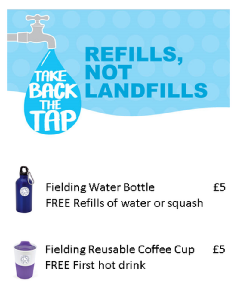 Fielding Primary Summer Fair going green - refillable water bottles and cups