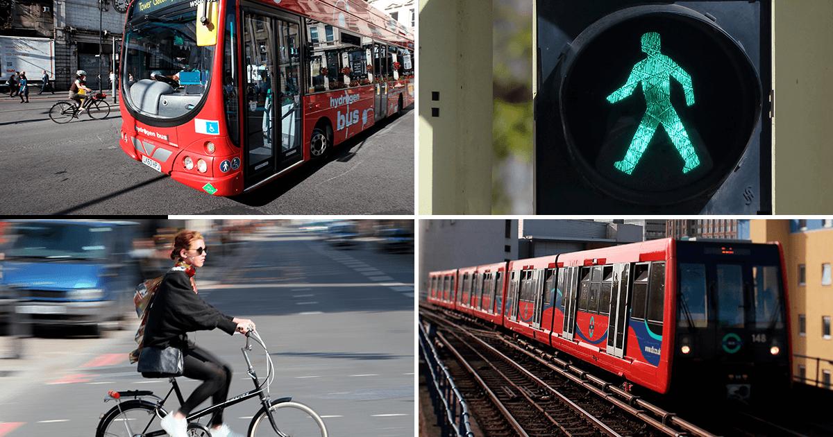 transport showing bus, person on bicycle, metro train, green man traffic light
