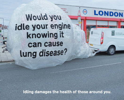 One minute idling generates a cloud of pollution